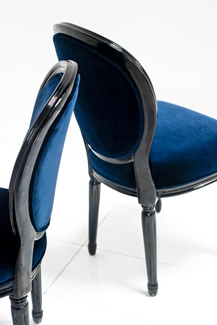 Louis Dining Chair In Navy And Black Gloss