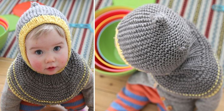Hood and cowl, all in one--and it stays put, too! Free pattern by Pickles. (But I'm just going to stare at this baby for a while before I start knitting...)