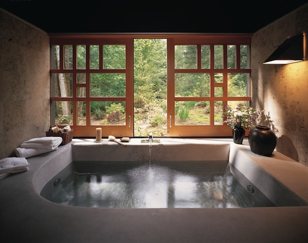Slide away full wall windows by the spa room