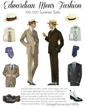 Men's Edwardian summer fashion guide. Ideal looks for  Downton Abbey men's clothing 1912-1925