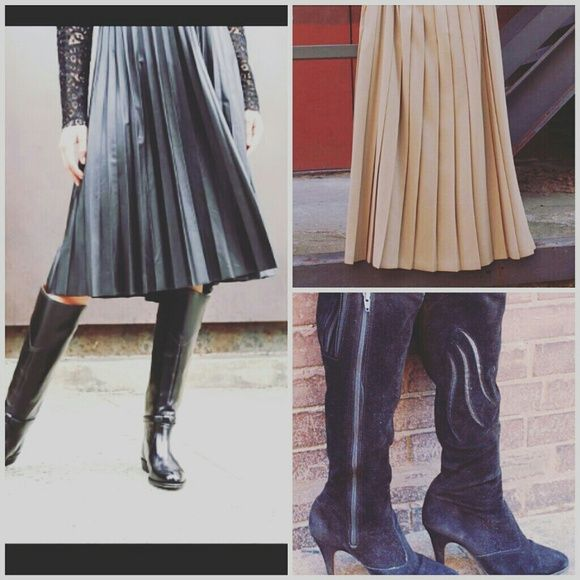 Long pleated skirt and knee high boots Vintage tan pleated skirt size 10 and black suede knee high boots size 9 Skirts Midi