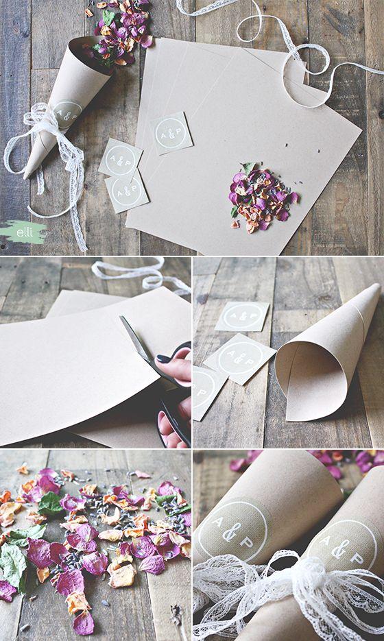 DIY Burlap and Lace Wedding Petal Cones   Elli.com