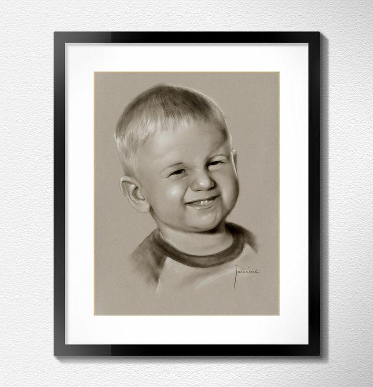 Portrait custom baby boy dry brush from photo by Jacek Jaskowiak Portraitsbuy