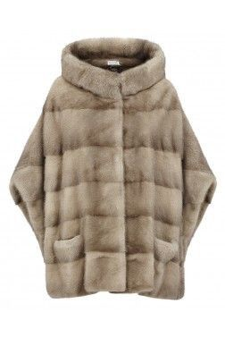 Pastel Mink Fur Cape Coat