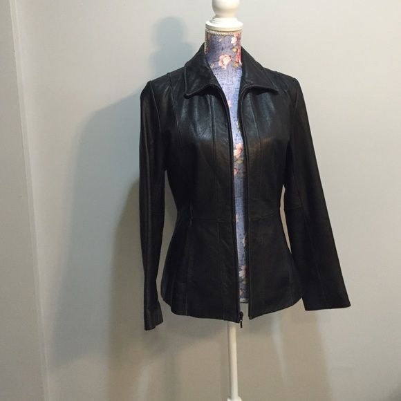 Ladies Black Leather Jacket Black wilson leather jacket, Size small, pink silk lining. Wilsons Leather Jackets & Coats
