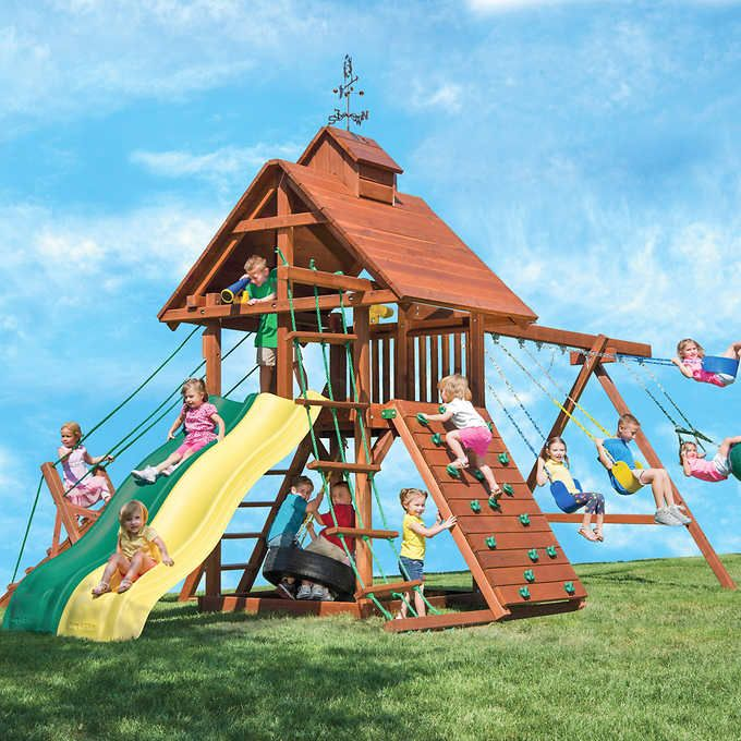 Kids Creations Wind Jammer Redwood Playset Installed Playset Kids Yard Playset Outdoor
