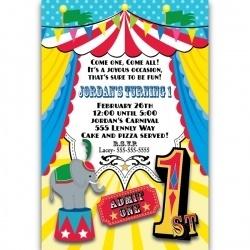 Circus 1st Birthday Personalized Invitations