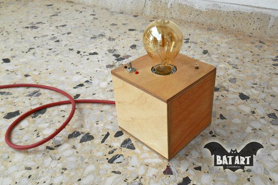 BAT™ ART Desk lamp cube plywood with vintage Toggle Switch - Lighting Fixture - Vintage rubber wire - E27 metal lamp holder -Indication lamp - Product Dimensions 12cm Height x 12cm Wide by Think4HandmadeArt, 52€