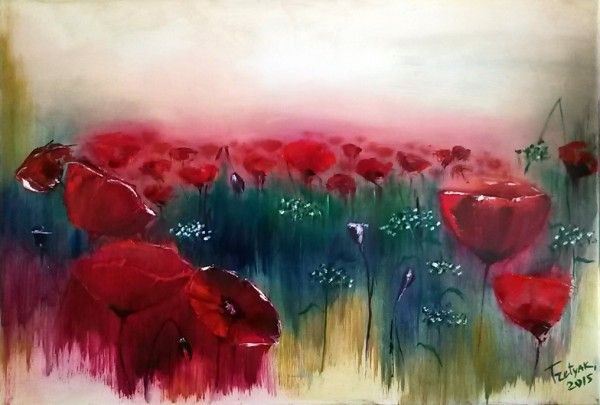 Poppy Sunset, Oil on canvas, Olga Tretyak. http://x-doux-x.livejournal.com/36683.html?mode=reply