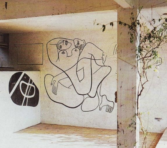 Another mural by Le Corbusier as it appeared when the property was photographed prior to renovations. Photo courtesy of Foundation Le Corbusier.