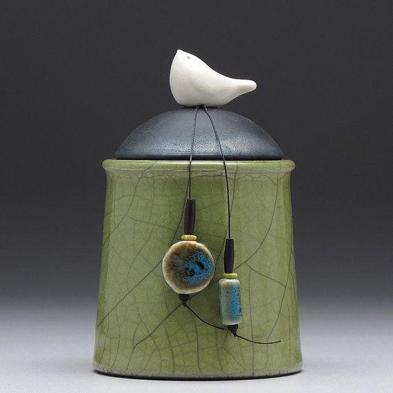 Ceramic Jar With Bird Olive Green Pottery Jar Home Decor Little Clay Bird On Jar Raku Fired Art Pottery