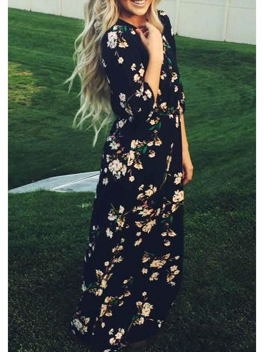 Navy Long Sleeve Floral Maxi Dress -SheIn(abaday)