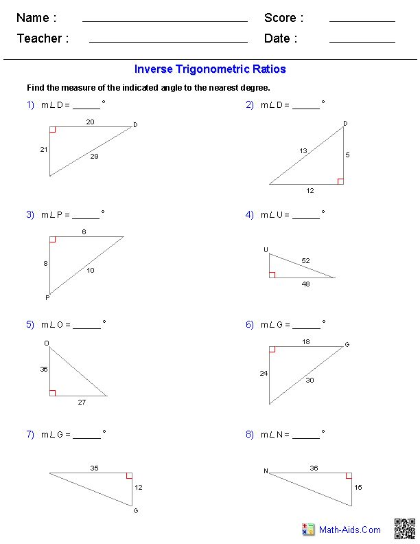 inverse trigonometric ratios worksheets jaleena math pinterest trigonometry worksheets. Black Bedroom Furniture Sets. Home Design Ideas