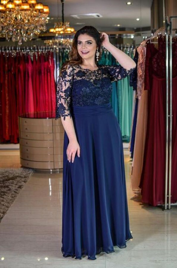 dd1a29a3233 2019 Plus Size Lace Mother Of The Bride Dresses Half Sleeves Chiffon Jewel  Neck Mother Bride Lace
