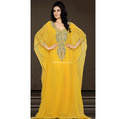 Real Beauty Comes Out From Your Dressing Style With This Yellow Faux Georgette Modern Islamic Caftan