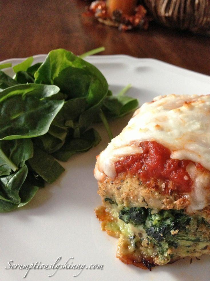 Involtini alla Parmigiana (Parmesan Chicken Rolls) #stuffed #spinach