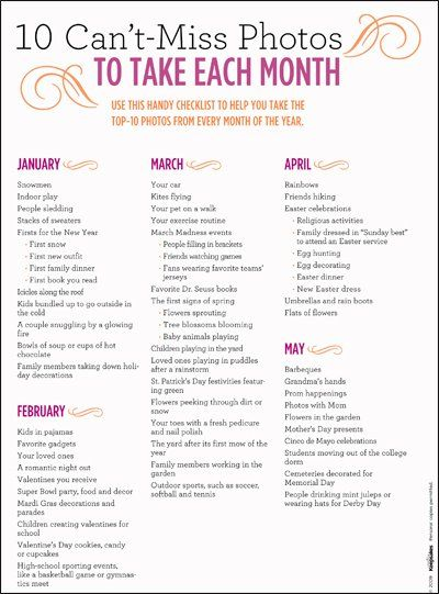printable photography checklist: Photography Idea, Months Photo, Check Lists, Photo Checklist, Good Idea, Cute Idea, Photo Idea, Photo Challenges, Pictures Idea