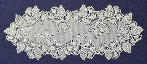 "Beautiful White Pinecones 14.5"" x 36"" Lace Table Runner"
