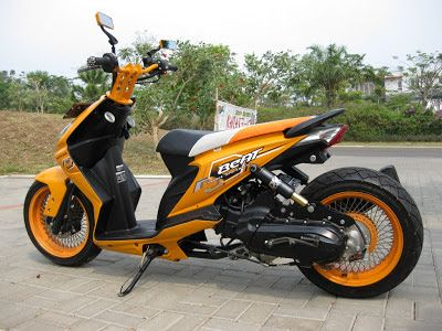 Modifikasi Honda Beat lowrider warna orange