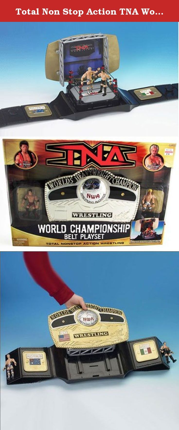 """Total Non Stop Action TNA World Wrestling Championship Belt Playset - Includes AJ Styles and Jeff Jarrett 3"""" Mini Figures. The NWA World Heavyweight Championship is the most prestigious and longest recognized World title in professional wrestling. Sanctioned by the National Wrestling Alliance, it has been defended around the world and has been held by some of the greatest wrestlers of all t ime. Product Dimensions: 1.8 pounds."""