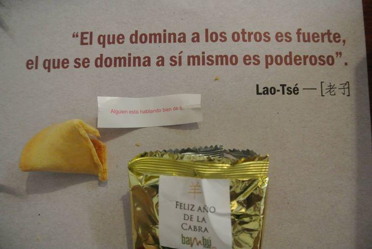 Año nuevo chino 2015. Ésta es la galleta que me tocó, pero está más lindo el mensaje de Lao-Tze.