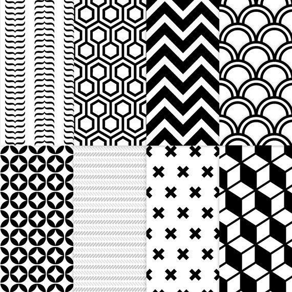 Estampados geométricos en blanco y negro