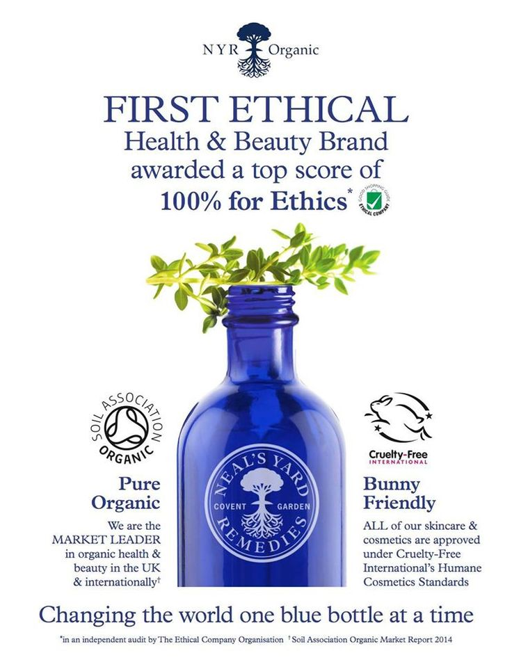 Neal's Yard Remedies (NYR Organics in the US) is the world's first health and beauty company to be awarded 100/100 for ethics in and independent audit by The Ethical Company Organisation.  Unlike other brands that have jumped on the 'natural' bandwagon, we've ALWAYS been an authentic, ethical, health & beauty brand. Come see why!  https://us.nyrorganic.com/shop/everygoodthing/