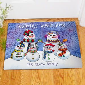 Personalized Snowman Family Doormat Display your family with festive holiday spirit when you use this Personalized Snowman Family Doormat. Anyone who visits your home for the holidays is sure to feel the warm welcome this doormat brings.  http://kittykatkoutique.com/e-shop/christmas/personalized-gifts-personalized-christmas-gifts/