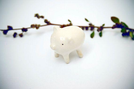 Unique Tiny White Pig. Ceramic Sculpture. Miniature by ferceramics