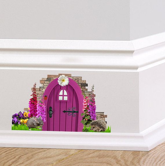 Purple Fairy Cottage Door Wall Decal Sticker Mural Skirting board Fox GLoves Pixie Mouse Hedgehog Quirky Wall Sticker Decorative