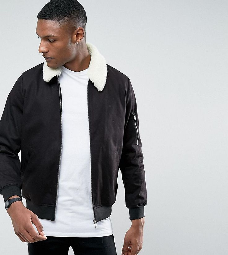 ASOS TALL Cotton Bomber Jacket With Fleece Collar In Black - Black