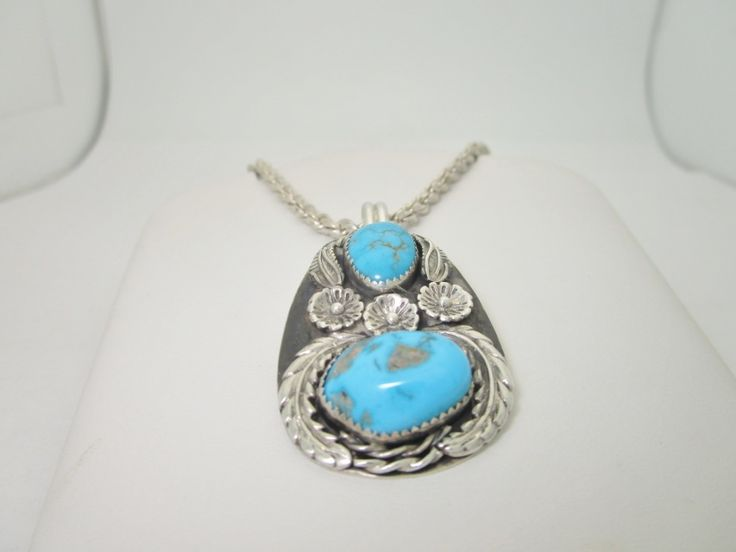 """Native American Indian Double Turquoise Flower Leaf Pattern Pendant & 24"""" Chain Necklace"""
