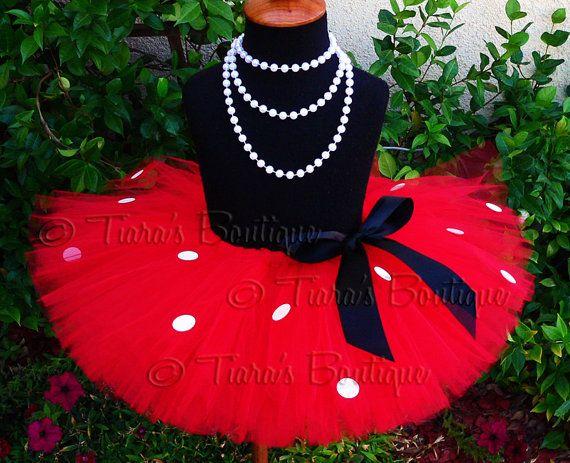 Girls Tutu Red Minnie Tutu Red Tutu w/ White Spots por TutuTiara