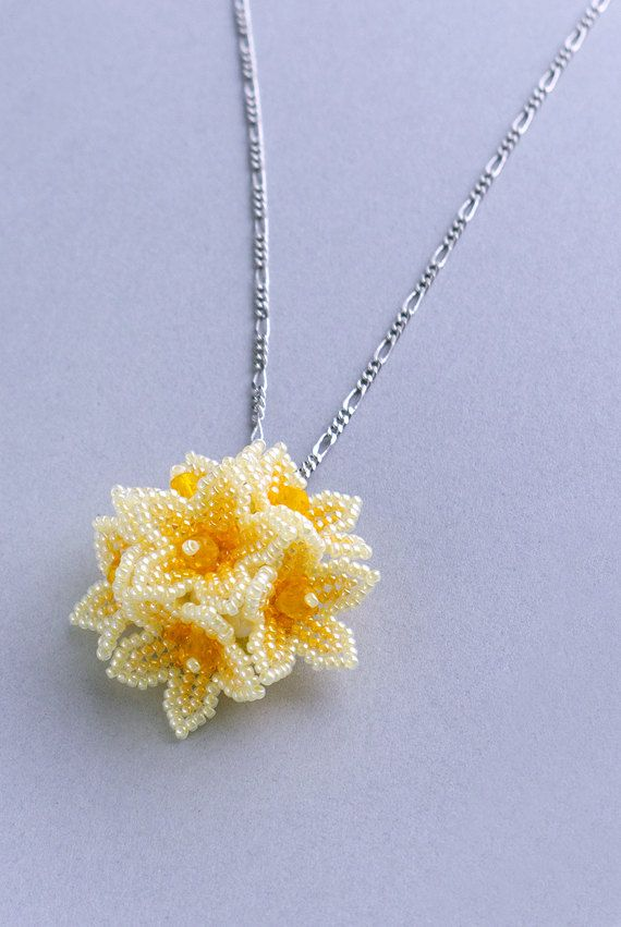 Beaded Flower Dome Pendant, Yellow, 1405pe_yel