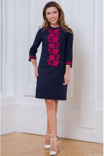Просторное нарядное платье с вышивкой • цвет: темно-синий • интернет магазин • vilenna • фото 1