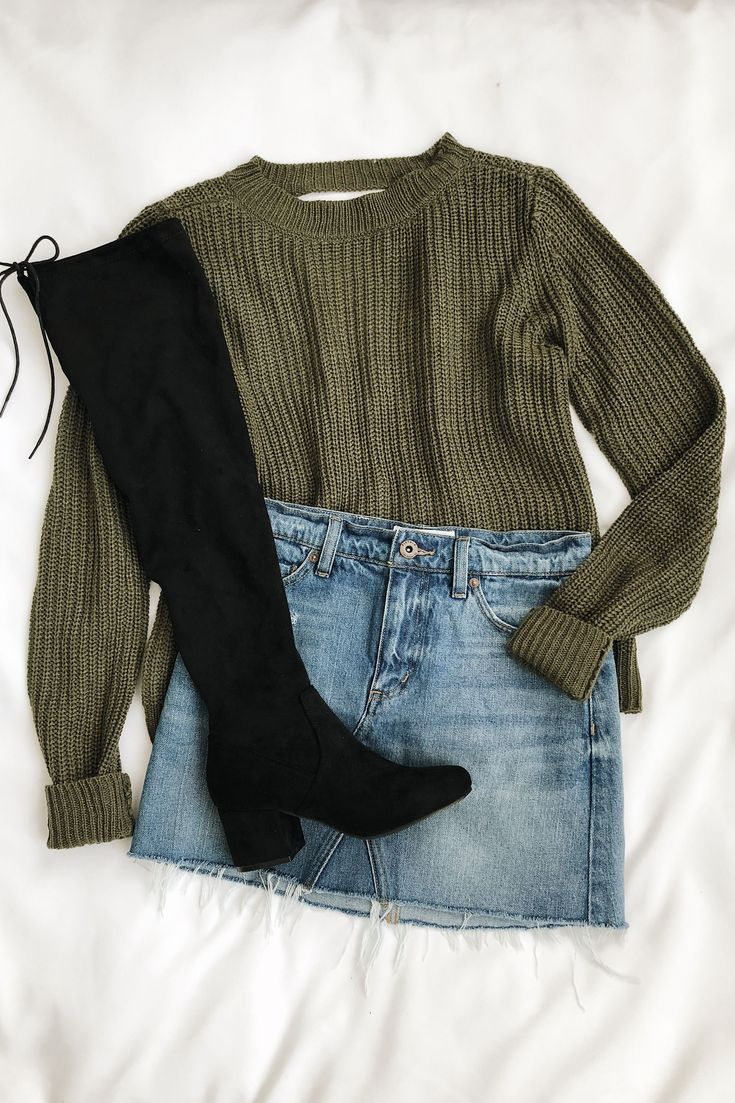 Know Thyself Olive Green Knit Cutout Sweater