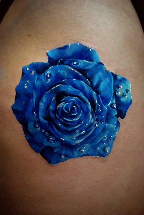 ... Blue Flowers Awesome Tattoo Blue Flower Tattoos Blue Rose Tattoos