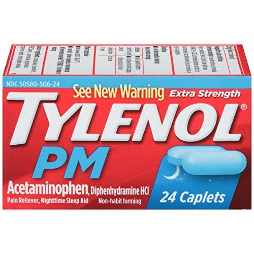 tylenol PM Extra Strength Pain Reliever/Nighttime Sleep Aid Caplets, 24 count - Buy Packs and SAVE (Pack of 2)