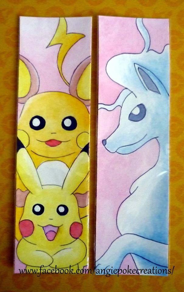 Marque-Pages Pokemon Création Dessin Fan Art : raichu, pikachu, feunard alola