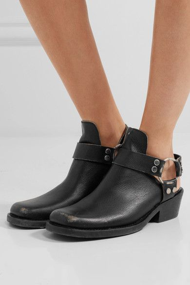 Balenciaga - Santiago Distressed Textured-leather Ankle Boots - Black - IT38.5