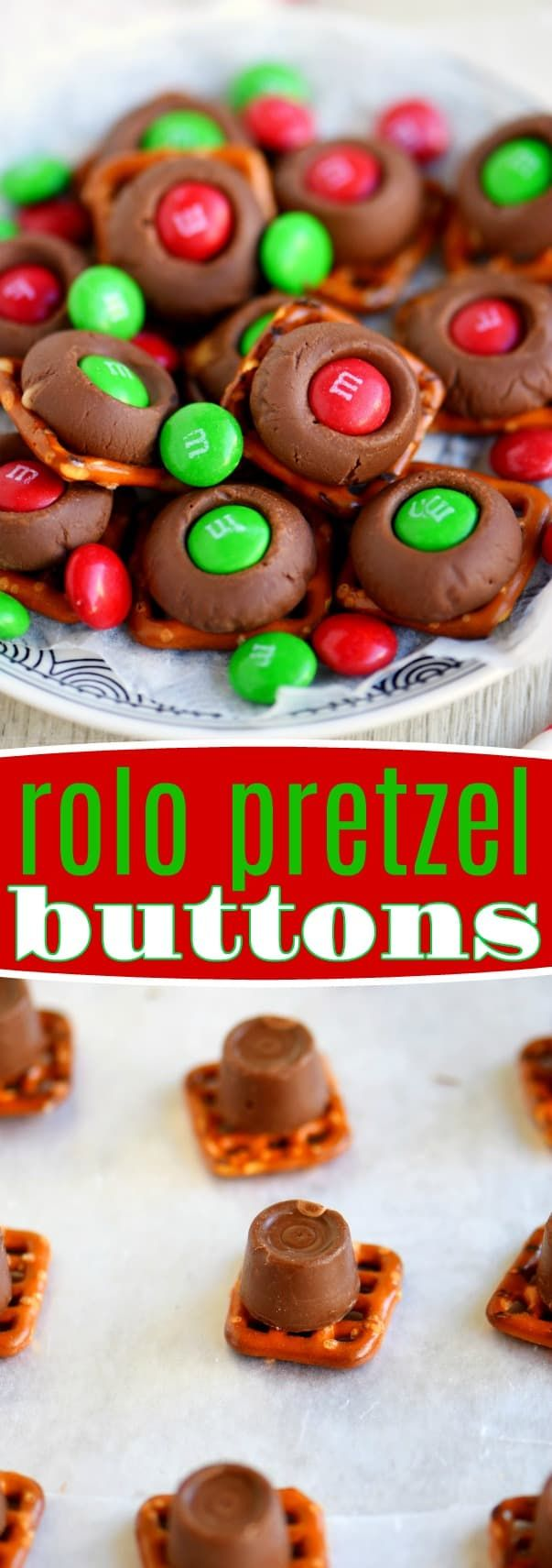 Just 3 easy ingredients and 5 quick minutes are all you need for these super delicious Rolo Pretzel Buttons! Great for Christmas, the holiday season, game day, parties and more!! // Mom On Timeout #Christmas #candy #recipe #easy #holidays #3ingredients