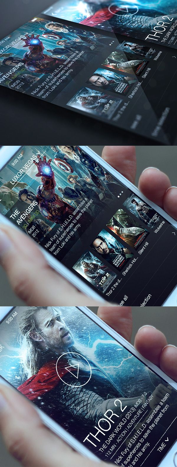Cinema App by Alex Bender, via Behance
