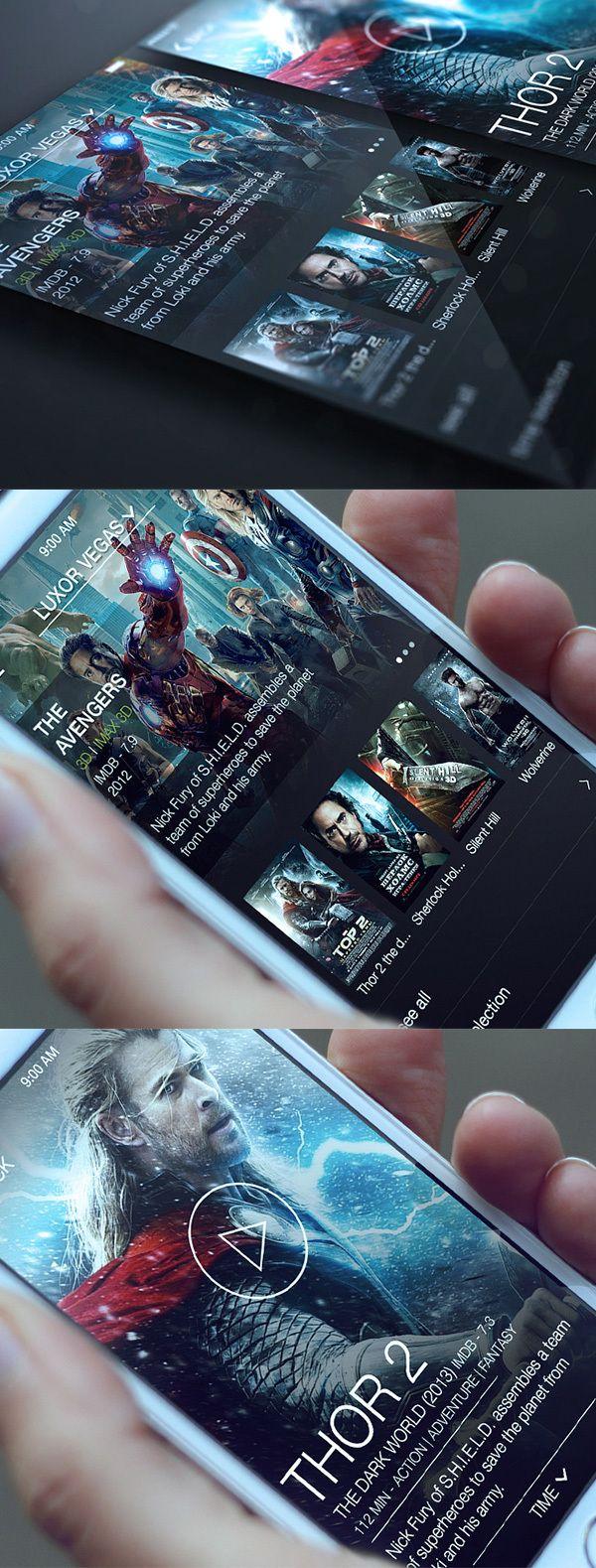 Cinema App by Alex Bender, via Behance