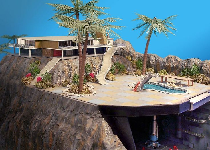 Thunderbirds are go! Set model for the marionette TV show Thunderbirds showcasing their 1960s swanky digs. Loved this !