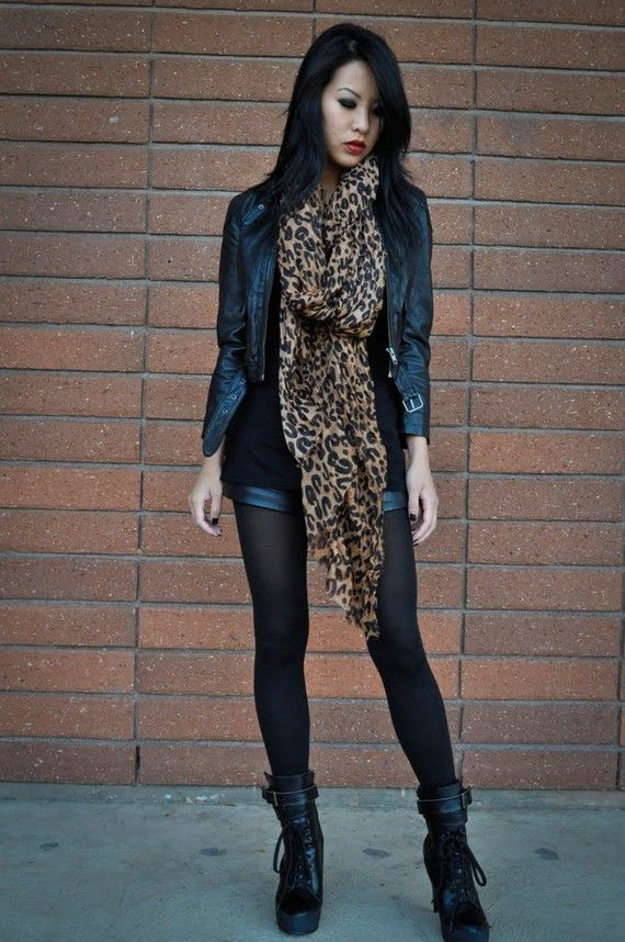 Leather jacket, black top, leopard print scarf, shorts, tights & black boots