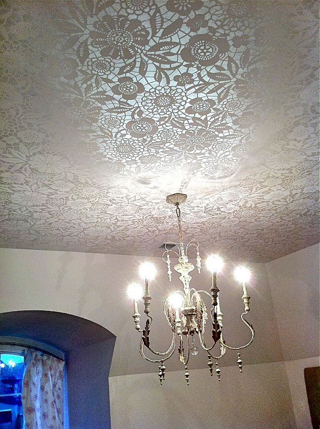 Gorgeous DIY Lace stenciled ceiling
