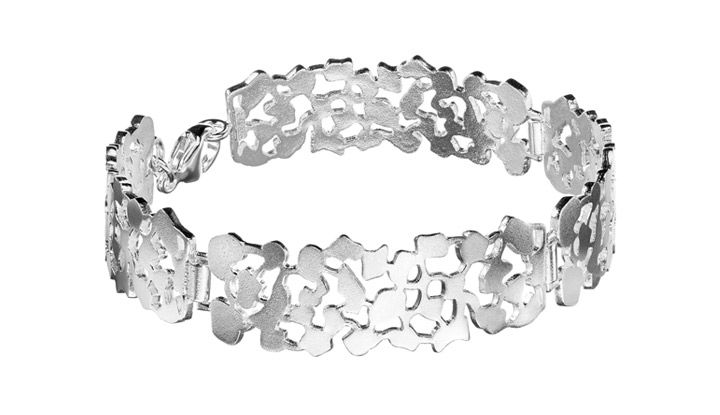 """Ritva Liisa Pohjalainen Runo"" (quote) bracelet made of sterling silver  Finnish design by Ritva-Liisa Pohjalainen made in FInland by saurum.fi"