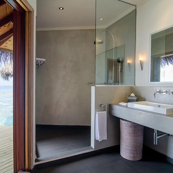 Simple in #design, versatile to work with and proven performance to be used in wet rooms. SEMCO shower walls and countertop in this 5* Resort on the Maldives.