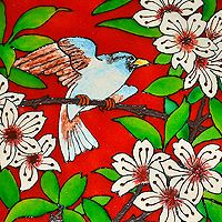 """""""A Bird amongst White Oleanders in a Round Glass"""" This is another attractive glass painting done on a round shaped frosted glass. The image consists of that of a bird sitting on a tree branch with blossoms of white oleander flowers..."""