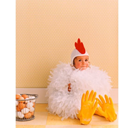 chicken costume with kitchen gloves for the feet- adorable